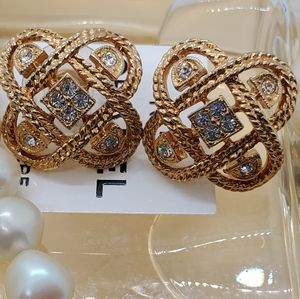 Vintage Pierced Couture Glamorous Earrings